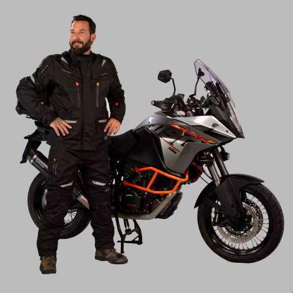 Motorradhose Touring black orange