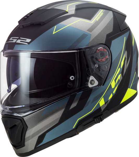 LS2 FF390 BREAKER BETA MATT COBALT H-V YELLOW Motorrad Helm