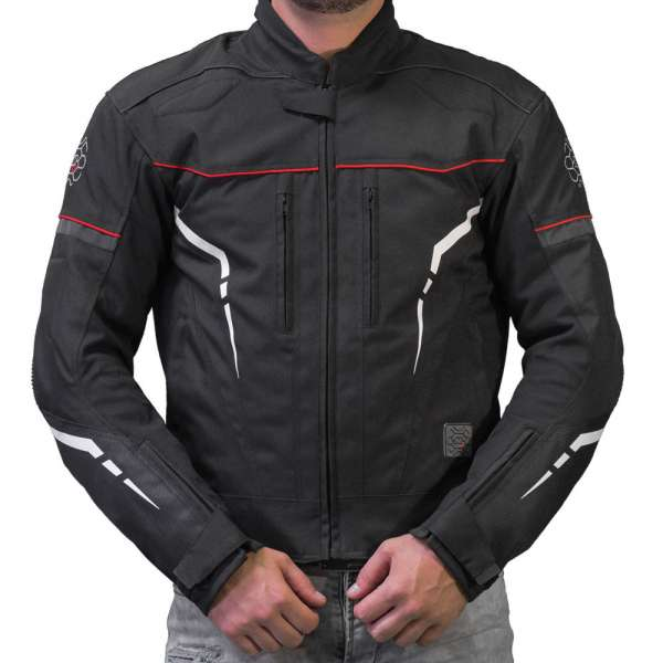 "Motorradjacke kurz ""Sport-Touring black/red"""