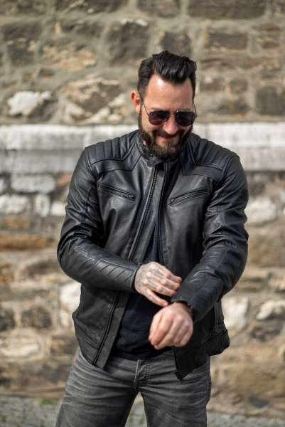 Motorrad Lederjacke Gentle black